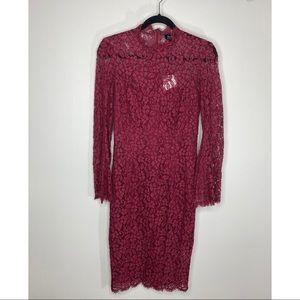 Bardot Burgundy Lace Long Sleeve Dress NWT